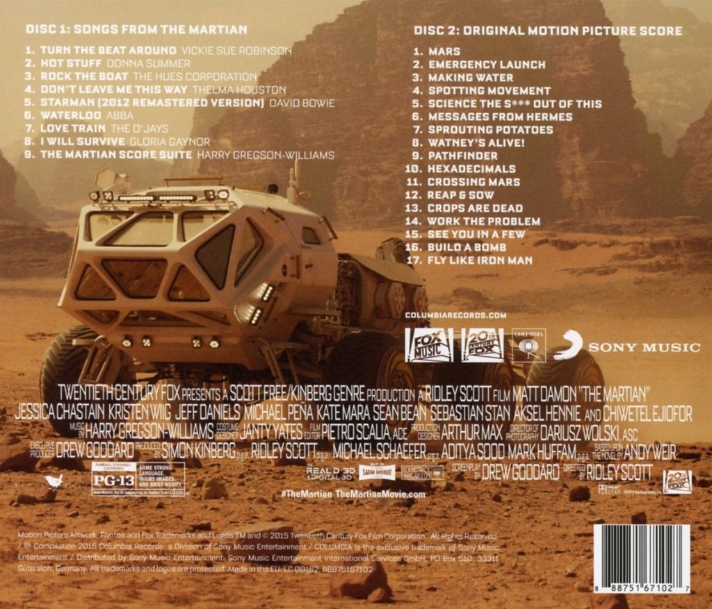 The Martian Deluxe Soundtrack back
