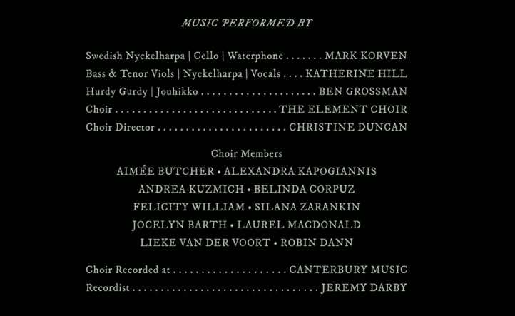 The Witch music credits